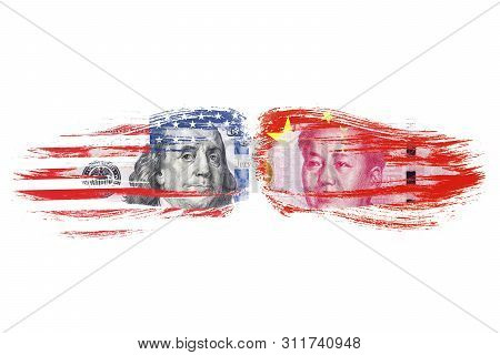 Us Dollar And Yuan Banknote On Usa And China Flags. Its Is Symbol Of Economic Tariff Trade War Crisi
