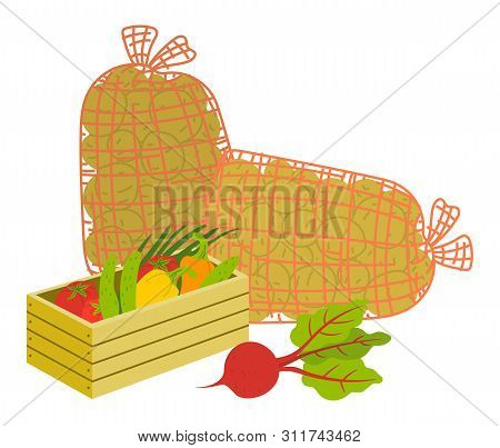 Vegetables In Wooden Case, Potato In Burlap. Beet And Tomato, Cucumber And Bell Pepper In Box, Crate