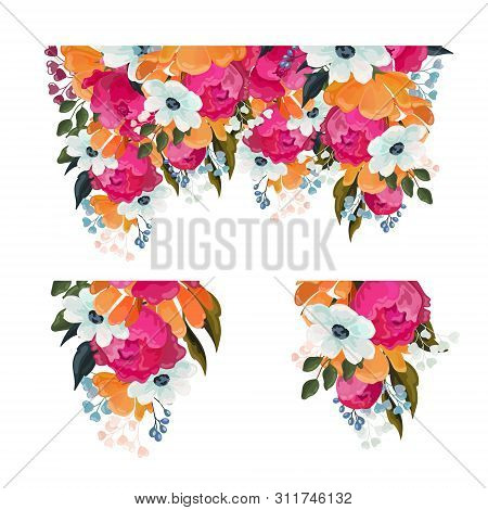 Collection Of Floral Elements With Bunches Of Mixed Colorful Summer Flowers And Dainty Blossom Isola