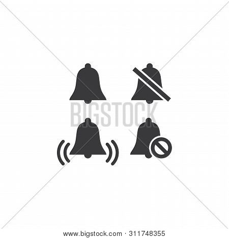 Bell Ring And Mute Simple Black Vector Icon Set. Doorbell Symbol For Sound Or No Sound Glyphs
