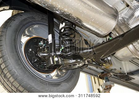 Rear Suspension Of A Modern Car. Elements And Design Of The Rear Suspension. Rear Suspension Beam, S