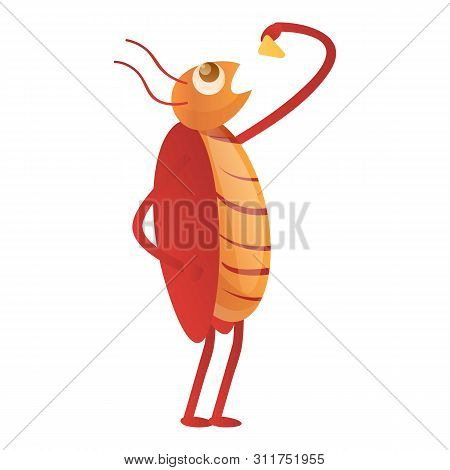 Cockroach Eating Icon. Cartoon Of Cockroach Eating Vector Icon For Web Design Isolated On White Back