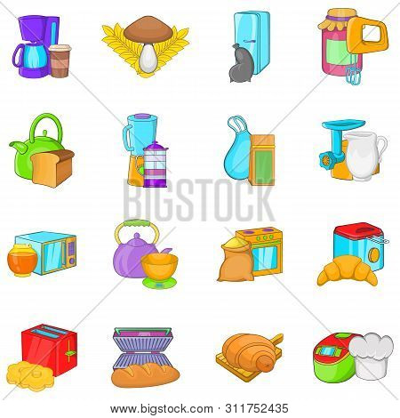 Cookery Icons Set. Cartoon Set Of 16 Cookery Vector Icons For Web Isolated On White Background