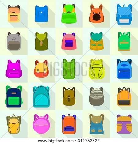 Backpack Icons Set. Flat Set Of Backpack Vector Icons For Web Design