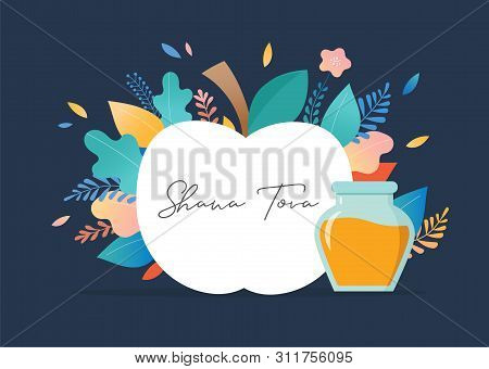 Rosh Hashana, Jewish Holiday, New Year Scene With An Apple, Honey, Flowers And Leaves. Flat Cartoon