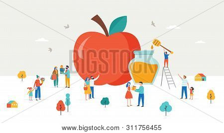 Rosh Hashana, Jewish Holiday, New Year Scene With An Apple, Tiny Varios People, Men, Kids And Women
