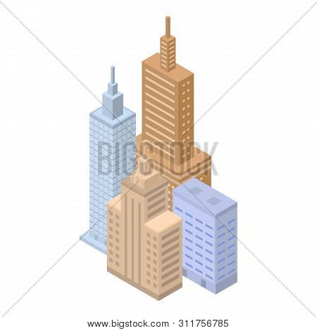 Megapolis Buildings Icon. Isometric Of Megapolis Buildings Vector Icon For Web Design Isolated On Wh