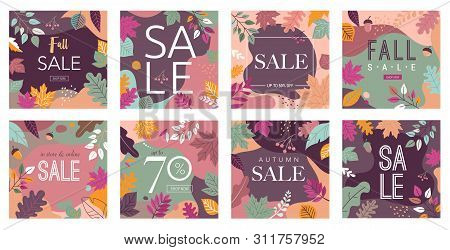Autumn, Fall Banners, Collection Of Abstract Background Designs, Fall Sale, Story Design, Social Med