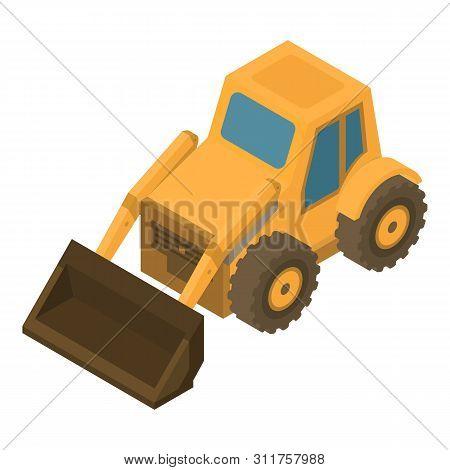 Wheel Bulldozer Icon. Isometric Of Wheel Bulldozer Vector Icon For Web Design Isolated On White Back