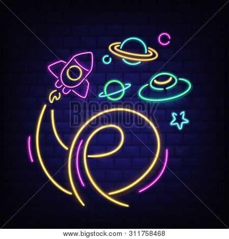 Neon Space Icons Set, Rocket, Ufo, Saturn Planet And Star Signs, Rocketship With Flame, Glowing Fluo