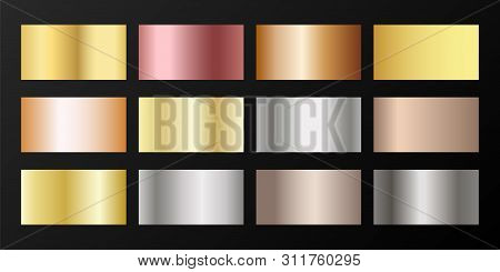 Metallic gradients vector set: golden, silver, platinum, bronze, rose gold. Shiny chrome, alloy, aluminum, titanium, copper, silver, rose gold, platinum, steel, bronze background swatches. poster