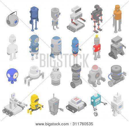 Robot Transformer Icons Set. Isometric Set Of Robot Transformer Vector Icons For Web Design Isolated