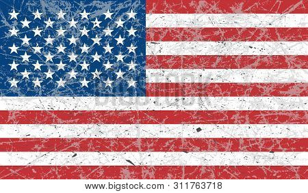 The Grunge Flag Of The United States Of America Is Colored. The Effect Is Scratched, Worn, Old. Vect
