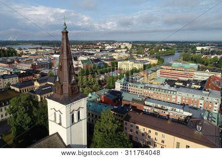 Karlstad, Sweden - July 13, 2019: Aerial View Of The Karlstad City Center With Cathedral In The Fore