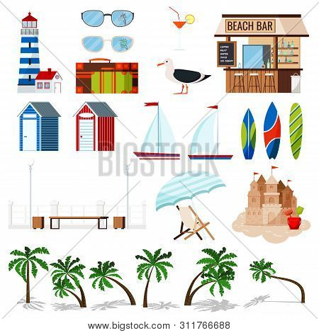Summer Holiday Set Isolated On White Background: Sailboat, Surf Board, Sand Castle, Chaise Lounge, H