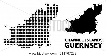 Dotted Map Of Guernsey Island Composition And Solid Illustration. Vector Map Of Guernsey Island Comp
