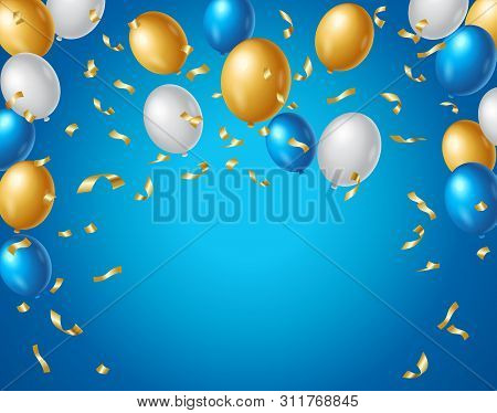 Colored Blue, White And Gold Balloons And Golden Confetti On A Blue Background With Space For Your T