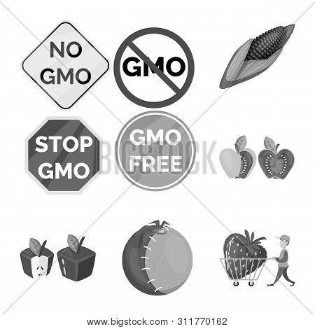 Bitmap Illustration Of Transgenic And Organic Sign. Collection Of Transgenic And Synthetic Stock Sym