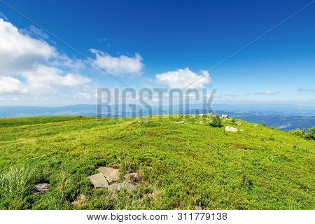 Grassy Meadow With Rock On Top Of A Hill. Beautiful Summer Landscape In Mountains. Sunny Weather Wit