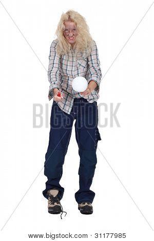 An electrocuted woman