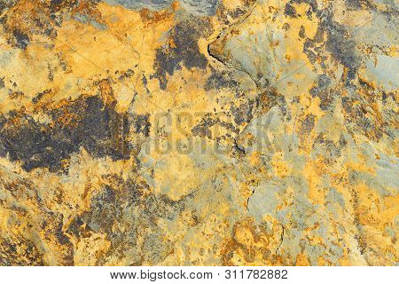 Gold Ore Texture. Gray Stone Background. Grunge Abstract Stone Surface.