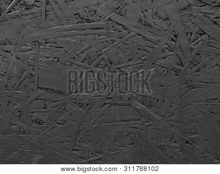 Wood Splinter Wall Texture Painted Black. Textured Background. Copy Space Place For Text