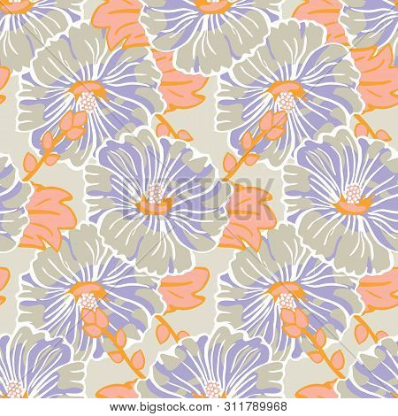 Blooming Orange Purple Mallow Flower Garden Seamless Repeat Vector Pattern Background For Fabric, Sc
