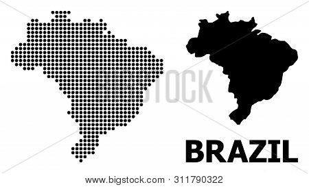 Dot Map Of Brazil Composition And Solid Illustration. Vector Map Of Brazil Composition Of Sphere Pix