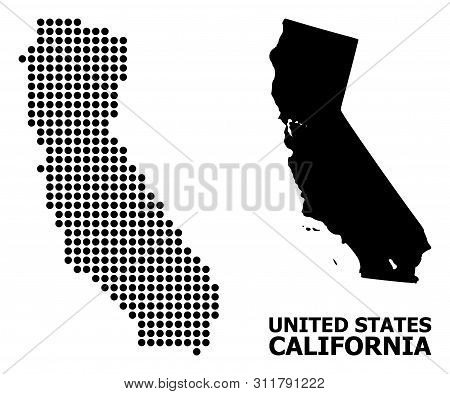Pixel Map Of California Composition And Solid Illustration. Vector Map Of California Composition Of
