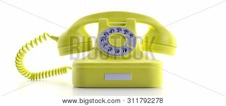 Yellow Old Telephone Isolated On White Background. 3D Illustration