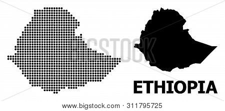 Dot Map Of Ethiopia Composition And Solid Illustration. Vector Map Of Ethiopia Composition Of Sphere