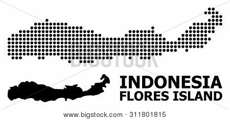Dot Map Of Indonesia - Flores Island Composition And Solid Illustration. Vector Map Of Indonesia - F