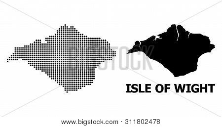 Dotted Map Of Isle Of Wight Composition And Solid Illustration. Vector Map Of Isle Of Wight Composit