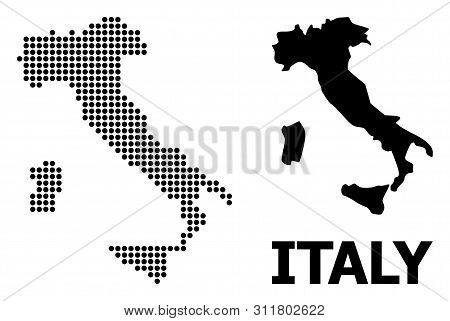 Dotted Map Of Italy Composition And Solid Illustration. Vector Map Of Italy Composition Of Sphere Pi