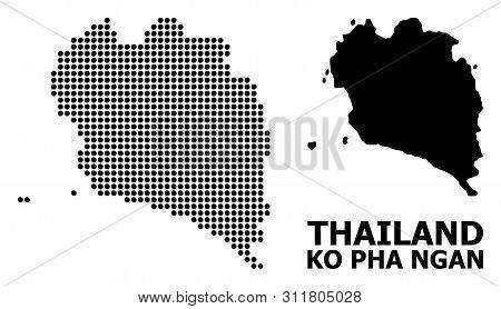 Dotted Map Of Ko Pha Ngan Composition And Solid Illustration. Vector Map Of Ko Pha Ngan Composition