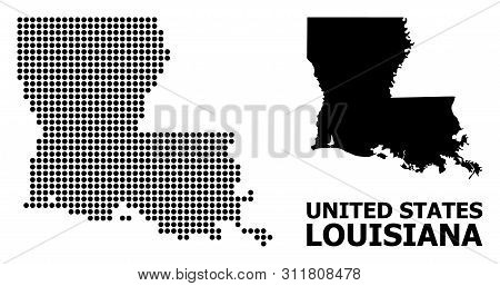 Dot Map Of Louisiana State Composition And Solid Illustration. Vector Map Of Louisiana State Composi