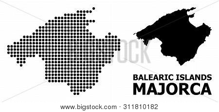 Dotted Map Of Majorca Composition And Solid Illustration. Vector Map Of Majorca Composition Of Round