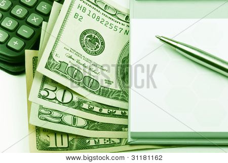 Money, Pen Calculator, Paper, Close-up