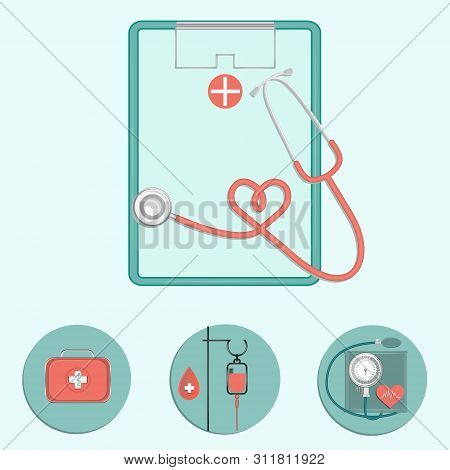 Clipboard With Stethoscope And Icons - Suitcase. First Aid, Dropper, Tonometer - Vector.