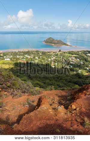 Aerial View Of Ilot Charbon Island In New Caledonia From The Mont-dore Mountain Track