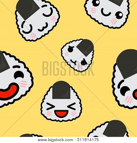 Seamless Pattern With Cute Kawaii Emoji Onigiri Vector Cartoon Illustration