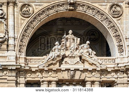 Detail of the Palace of Justice or Supreme Court of Cassation in Rome, Italy.