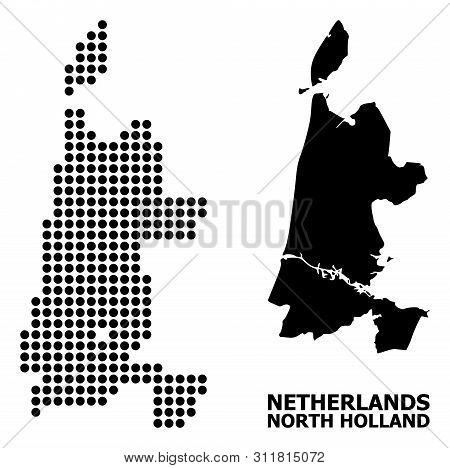 Pixel Map Of North Holland Composition And Solid Illustration. Vector Map Of North Holland Compositi