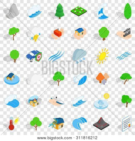Water Wave Icons Set. Isometric Style Of 36 Water Wave Vector Icons For Web For Any Design