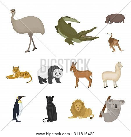 Different Animals Cartoon Icons In Set Collection For Design. Bird, Predator And Herbivore Bitmap Sy