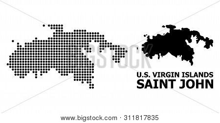 Pixel Map Of Saint John Island Composition And Solid Illustration. Vector Map Of Saint John Island C