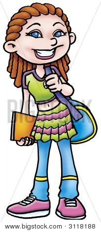 a digitally illustrated colorful fuuny pretty lady poster