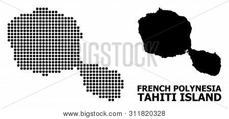 Pixel Map Of Tahiti Island Composition And Solid Illustration. Vector Map Of Tahiti Island Compositi