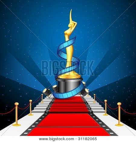 illustration of golden cinema award with film reel on red carpet