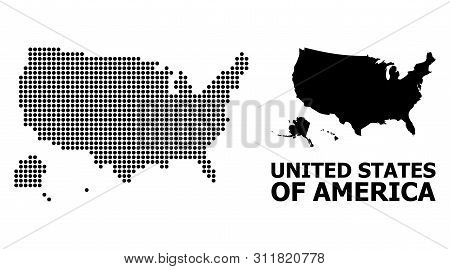 Dot Map Of Usa Territories Composition And Solid Illustration. Vector Map Of Usa Territories Combina
